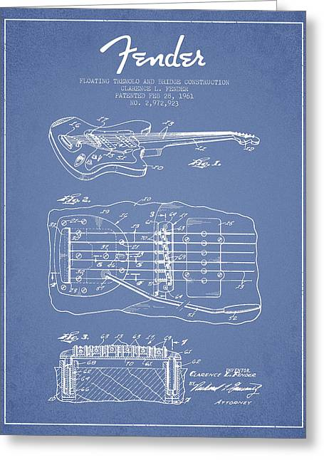 Bass Digital Art Greeting Cards - Fender Floating Tremolo patent Drawing from 1961 - Light Blue Greeting Card by Aged Pixel