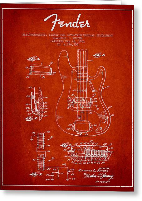 String Instrument Greeting Cards - Fender Guitar Patent Drawing from 1961 Greeting Card by Aged Pixel