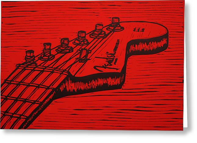 Fender Strat Drawings Greeting Cards - Fender Strat Greeting Card by William Cauthern