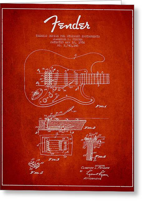 Tremolo Greeting Cards - Fender Tremolo Device patent Drawing from 1956 Greeting Card by Aged Pixel