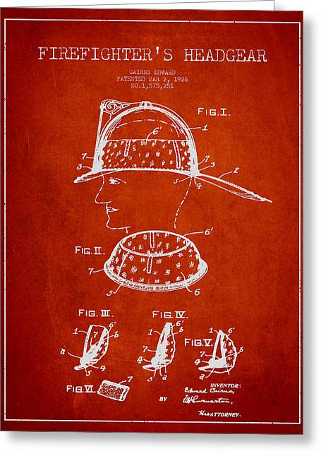 Firefighter Headgear Patent Drawing From 1926 Greeting Card by Aged Pixel