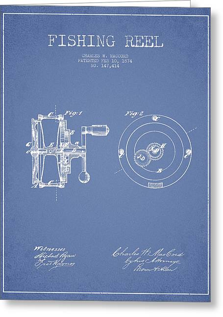 Reel Digital Greeting Cards - Fishing Reel Patent from 1874 Greeting Card by Aged Pixel