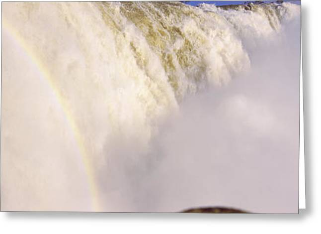 Fall Photography Greeting Cards - Floodwaters At Iguacu Falls, Brazil Greeting Card by Panoramic Images