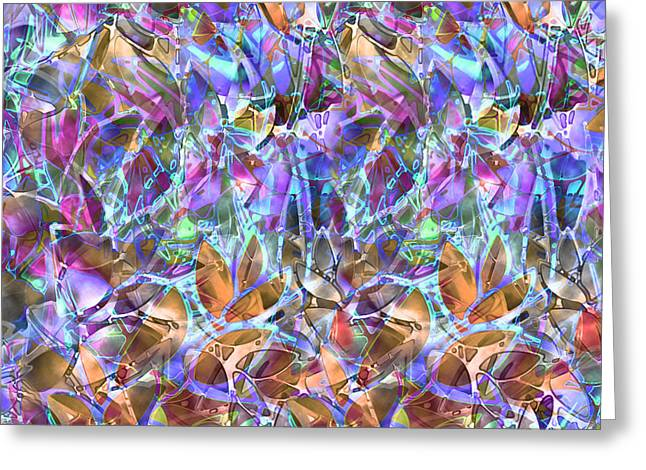 Petals Glass Art Greeting Cards - Floral Abstract Stained Glass Greeting Card by Medusa GraphicArt