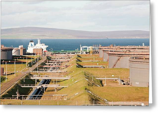 Flotta Oil Terminal Greeting Card by Ashley Cooper