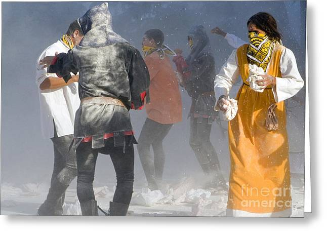Flour Greeting Cards - Flour Battle, Umbria, Italy Greeting Card by Tim Holt