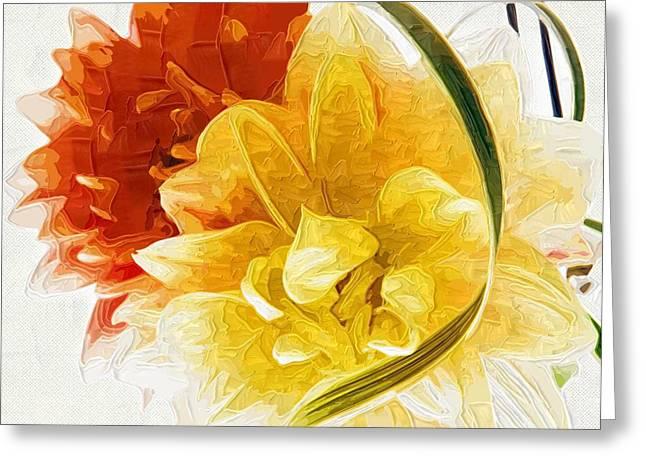Easter Flowers Paintings Greeting Cards - Flowers canvas Paintings Greeting Card by Victor Gladkiy