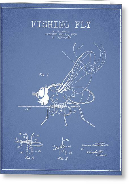 Fishing Fly Patent Drawing From 1968 - Light Blue Greeting Card by Aged Pixel