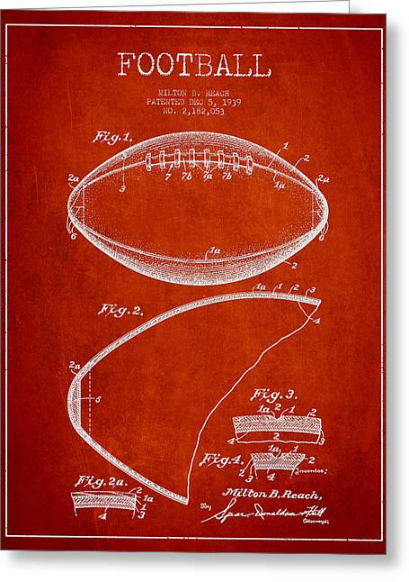Technical Digital Greeting Cards - Football Patent Drawing from 1939 Greeting Card by Aged Pixel
