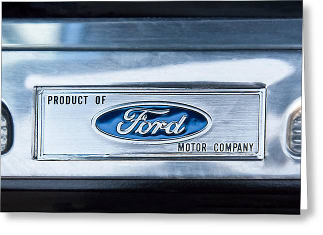 Power Photographs Greeting Cards - Powered by Ford Emblem -0307C Greeting Card by Jill Reger