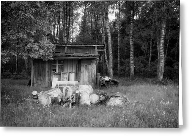 Hunting Cabin Photographs Greeting Cards - Forest Hideaway Greeting Card by Mountain Dreams