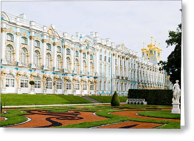 Commonwealth Of Independent States Greeting Cards - Formal Garden In Front Of A Palace Greeting Card by Panoramic Images