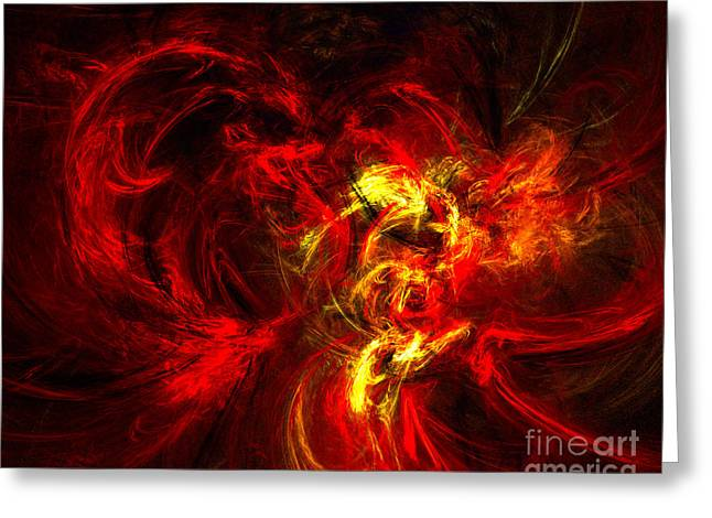 Roseann Caputo Greeting Cards - Fractal Demon Greeting Card by Roseann Caputo