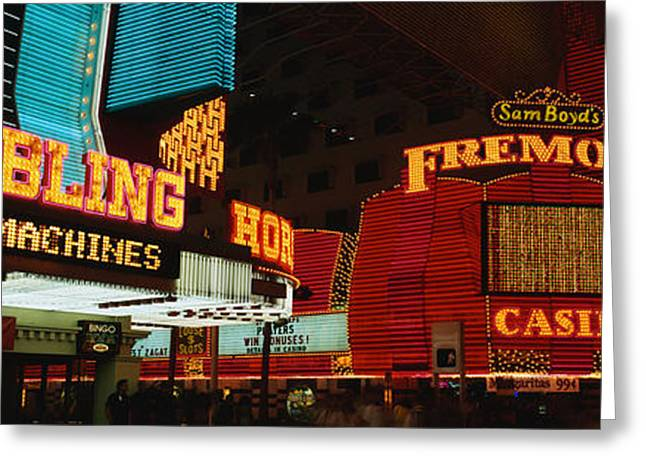 Fremont Street Greeting Cards - Fremont Street Experience Las Vegas Nv Greeting Card by Panoramic Images