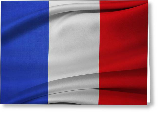 Waving Flag Greeting Cards - French flag  Greeting Card by Les Cunliffe