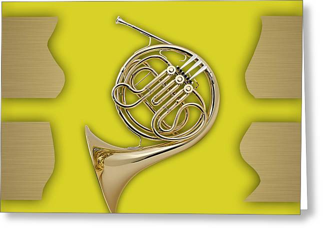 Metal Sheet Mixed Media Greeting Cards - French Horn Collection Greeting Card by Marvin Blaine