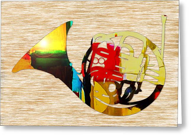 French Horn Greeting Card by Marvin Blaine