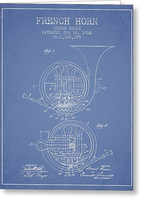 French Horn Greeting Cards - French Horn Patent from 1914 - Light Blue Greeting Card by Aged Pixel