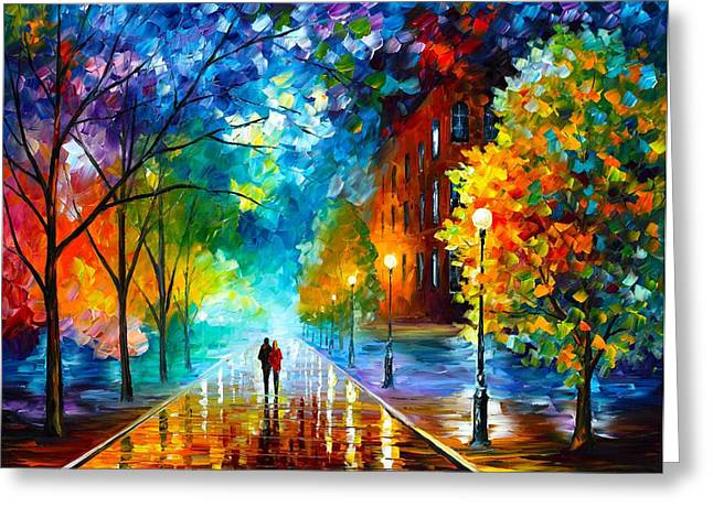 Abstract Oil Greeting Cards - Freshness Of Cold Greeting Card by Leonid Afremov