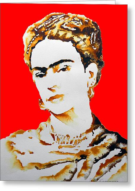 Amate Bark Paper Greeting Cards - Frida Greeting Card by Jose Espinoza