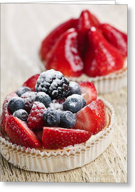 Portion Greeting Cards - Fruit tarts Greeting Card by Elena Elisseeva