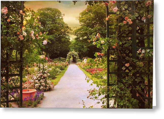 Trellis Digital Greeting Cards - Garden Gate Greeting Card by Jessica Jenney