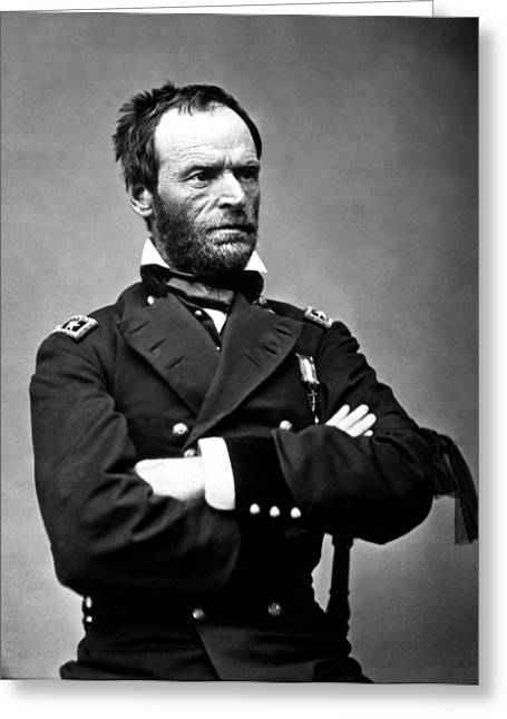 Williams Greeting Cards - General William Tecumseh Sherman Greeting Card by War Is Hell Store