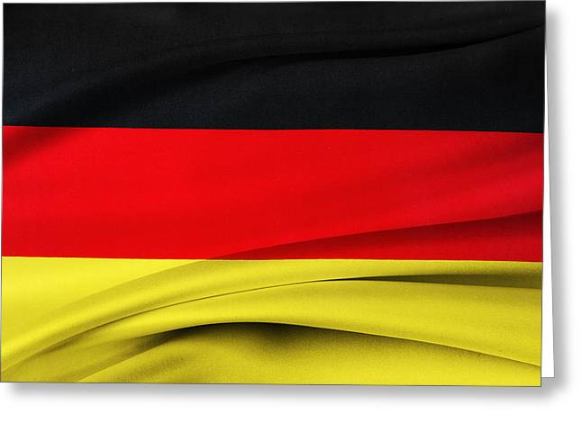 Textile Photographs Greeting Cards - German flag Greeting Card by Les Cunliffe