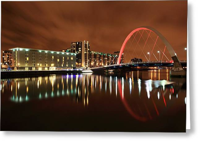 Night Scenes Greeting Cards - Glasgow Clyde Arc Greeting Card by Grant Glendinning
