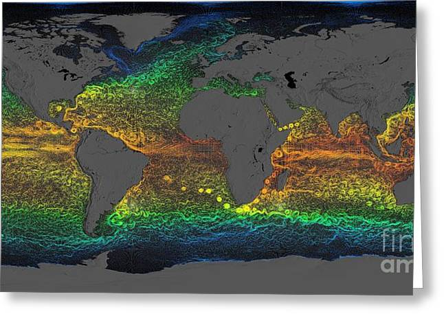 African-american Institute Greeting Cards - Global Surface Currents 2005-2007 Greeting Card by Nasa