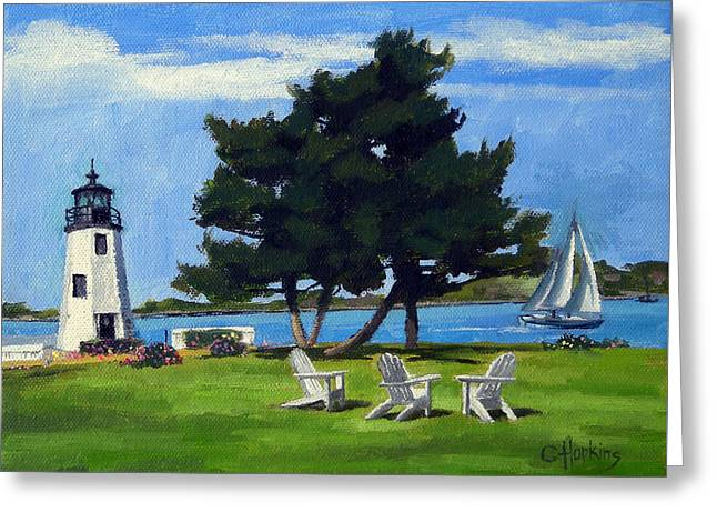Hopkins Island Greeting Cards - Goat Island Lighthouse Newport Rhode Island Greeting Card by Christine Hopkins