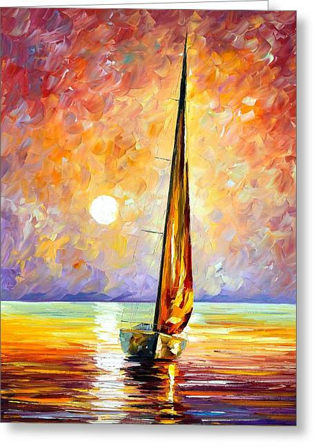 Owner Greeting Cards - Gold Sail Greeting Card by Leonid Afremov