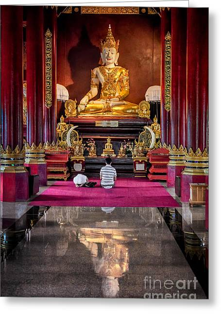 Religious Digital Greeting Cards - Golden Buddha Greeting Card by Adrian Evans