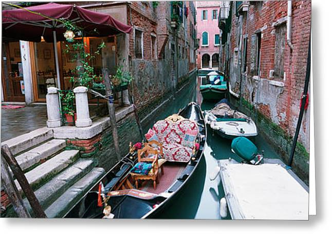 Gondolas In A Canal, Grand Canal Greeting Card by Panoramic Images