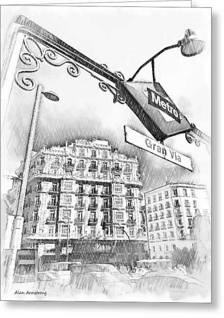 4 Gran Via Metro Madrid Greeting Card by Alan Armstrong