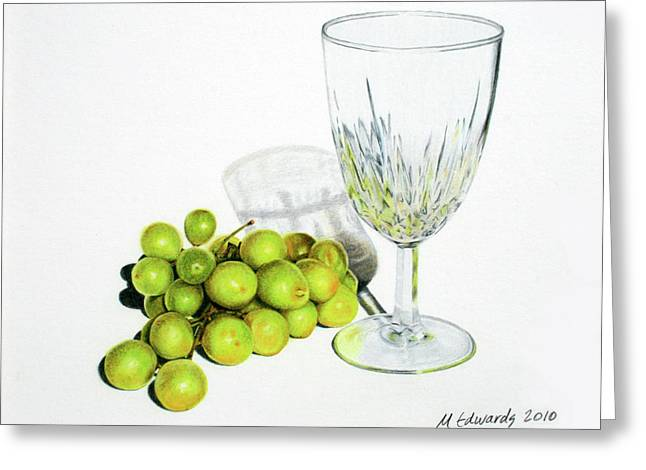 Wine-glass Greeting Cards - Grapes and Crystal Greeting Card by Marna Edwards Flavell