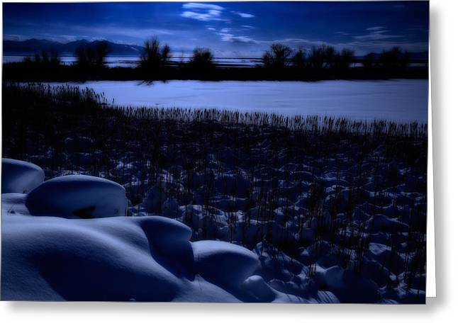Snowy Night Night Greeting Cards - Great Salt Lake Utah Greeting Card by Utah Images