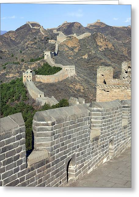 Surrounding Wall Greeting Cards - Great Wall of China Greeting Card by King Wu