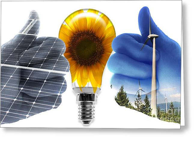 Environmental Science Greeting Cards - Green Energy Greeting Card by Sigrid Gombert