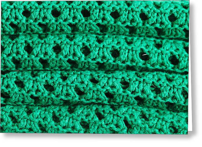 Lint Greeting Cards - Green wool Greeting Card by Tom Gowanlock