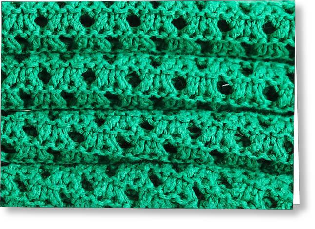 Warp Greeting Cards - Green wool Greeting Card by Tom Gowanlock
