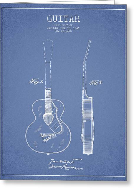 Acoustic Guitar Digital Greeting Cards - Gretsch guitar patent Drawing from 1941 - Light Blue Greeting Card by Aged Pixel