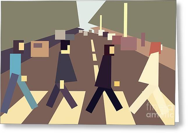 Quartet Greeting Cards - 4 guys crossing Abbey Road Greeting Card by Igor Kislev