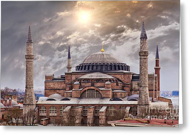 Medieval Temple Greeting Cards - Hagia Sophia Istanbul Greeting Card by Sophie McAulay