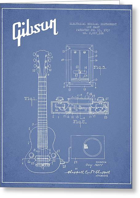 String Instrument Greeting Cards - Hart Gibson electrical musical instrument patent Drawing from 19 Greeting Card by Aged Pixel