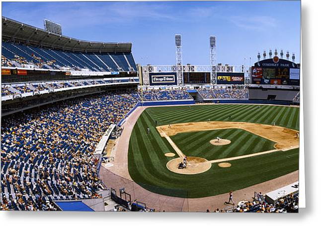 Cellular Greeting Cards - High Angle View Of A Baseball Stadium Greeting Card by Panoramic Images