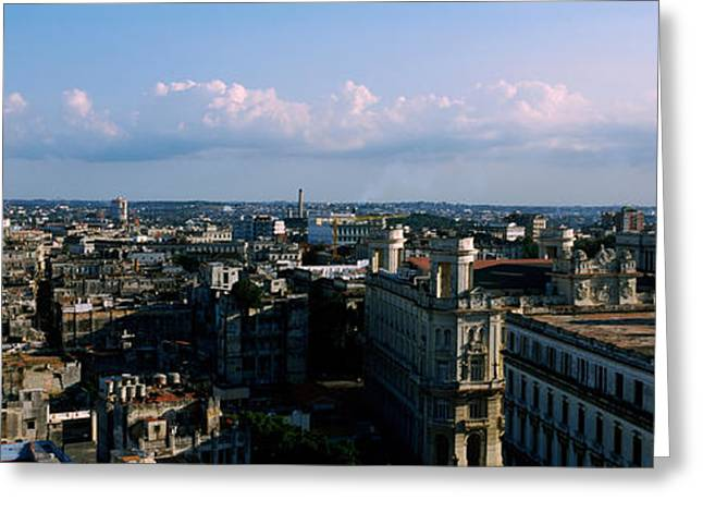 Habana Greeting Cards - High Angle View Of A City, Old Havana Greeting Card by Panoramic Images