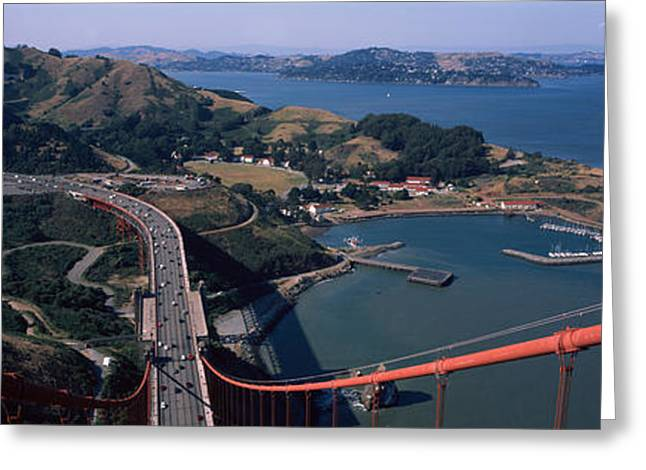 Marin County Greeting Cards - High Angle View Of A Suspension Bridge Greeting Card by Panoramic Images