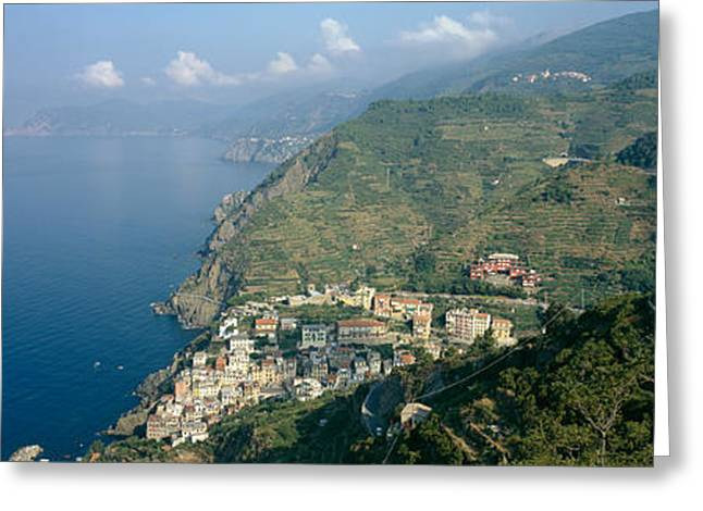 Riomaggiore Greeting Cards - High Angle View Of A Village Greeting Card by Panoramic Images