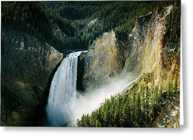 High Angle View Of A Waterfall Greeting Card by Panoramic Images